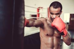 Afro amerykanina bokser Fotografia Royalty Free