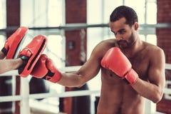 Afro amerykanina bokser Zdjęcie Royalty Free