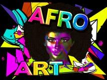 Afro- Art Woman, färgrik digital konst med en tappning och retro blick med abstrakt bakgrund arkivbilder