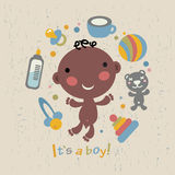 Afro baby boy arrival announcement card. Vector illustration Stock Image