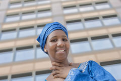Afro beauty wearing a traditional headscarf stock photo