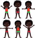 Afro boy and girl doin morning work-out Stock Images