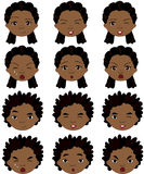 Afro boy and girl emotions: joy, surprise, fear, sadness, sorrow Stock Image