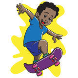 Afro Boy Skateboarding Royalty Free Stock Photo