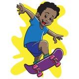 Afro Boy Skateboarding Royalty Free Stock Photo