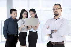 Afro businessman and his team Royalty Free Stock Photo