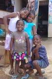 Afro-Caribbean children. Smiling Afro-Caribbean children in Garifuna village Royalty Free Stock Photos