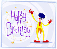 Afro clown birthday greeting Stock Image