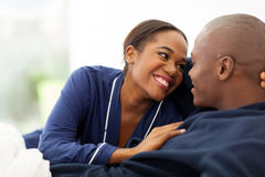 Afro couple flirting Royalty Free Stock Images