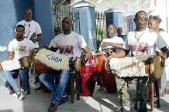 Afro-Cuban rumba assemble. In Matanzas, Cuba, city were Rumba developed in the late 19th century as a blend of Congolese-derived drumming with Spanish flamenco royalty free stock images