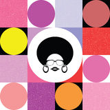 Afro- dam på färgrik retro bakgrund Stock Illustrationer