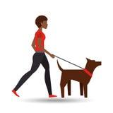 Afro de la muchacha que camina un perro marrón stock de ilustración