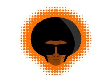 Afro disco man head graphic. Afro american man with funky disco hair and glasses. Drawing with halftone border and white background stock illustration