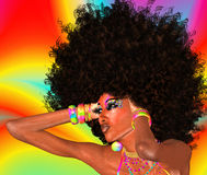 Afro dziewczyna, Abstrakcjonistyczny tło fotografia royalty free