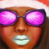 Afro dziewczyna w różowych szkłach i nowego roku kapeluszu w stylu cyfrowego obrazu olejnego Obraz Stock