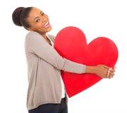 Afro dziewczyny amerykański serce Obraz Stock