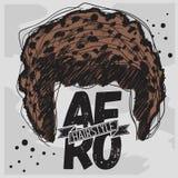 Afro fryzury Kędzierzawa Masowa Włosiana ręka Rysujący Szkicowy Zdjęcia Stock