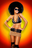 Afro Girl. Beautiful woman with huge afro haircut color wall royalty free stock images