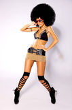 Afro Girl. Beautiful woman with huge afro haircut color wall royalty free stock photos