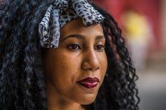 Afro girl as seen in Havana, Cuba stock photo