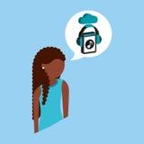 Afro girl cloud streaming music. Vector illustration eps 10 royalty free illustration
