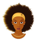 Afro Girl with Curly Hair. Vector Illustration of an Afro Girl with Curly Hair Wearing Earrings and Necklace vector illustration