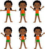 Afro girl with dreadlocks doin morning work-out vector illustration
