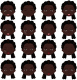 Afro girl emotions: joy, surprise, fear, sadness, sorrow, crying Stock Image