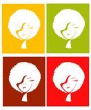 Afro girl in four different color Stock Image