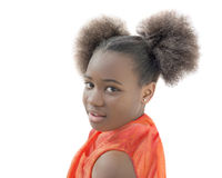 Afro girl with pigtails smiling, ten years old, isolated Royalty Free Stock Photography