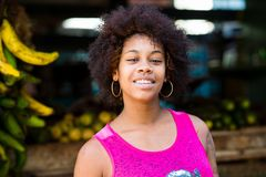 Afro Girl. Portrait of a cuban girl. stock photography