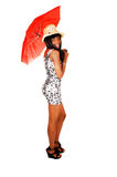 Afro girl with red umbrella. Stock Image