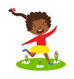 Afro girl running vector illustration. Stock Photo