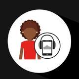 Afro girl smartphone headphones music online Royalty Free Stock Photos