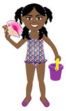 Afro Girl Swimsuit. Vector of Afro girl in swimsuit with popsicle and lifesaver Royalty Free Stock Photo