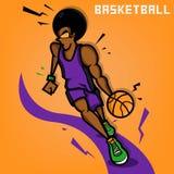Afro gracz koszykówki Zdjęcia Stock