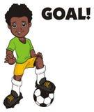 Afro gracz piłki nożnej Brazylia Zdjęcie Stock