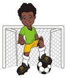 Afro gracz piłki nożnej i opróżnia bramę Fotografia Royalty Free