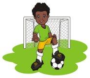 Afro gracza piłki nożnej stojak z przedmiotami ilustracja wektor