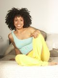Afro and home. Royalty Free Stock Photography