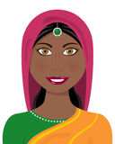 Afro Indian Woman with Traditional Dress. Portrait of a beautiful indian afro american woman smiling with black hair, brown eyes and wearing a sari or stock illustration