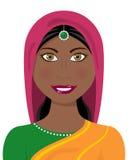 Afro- indisk kvinna med den traditionella klänningen Arkivbild