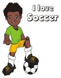Afro inskrypcja i gracz piłki nożnej royalty ilustracja
