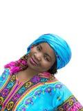 Afro kobieta jest ubranym tradycyjną suknię, odosobnioną Obraz Royalty Free