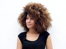 Afro kobieta patrzeje daleko od Obraz Stock