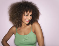 Afro kobieta Z Kędzierzawego włosy Mrugać Obrazy Stock