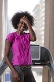 Afro kobiety amerykański bieg na karuzeli Fotografia Stock
