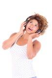Afro kobiety słuchająca muzyka. Obrazy Royalty Free