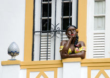 Afro kobiety statua na balkonie Zdjęcie Royalty Free