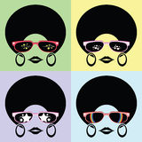 Afro lady with many glasses styles Royalty Free Stock Images